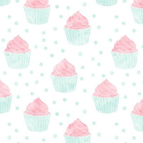 watercolor cupcakes (pink & blue)