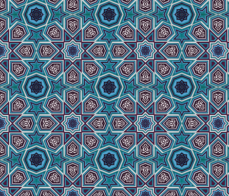Ottoman Iznik Ceramic Tile fabric by axeleon on Spoonflower - custom fabric
