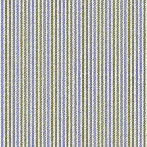 French Linen Petite Stripe - grass & periwinkle-ed