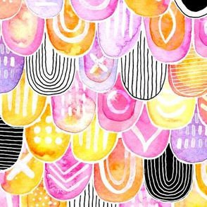 Abstract Watercolor Scales in pink and yellow