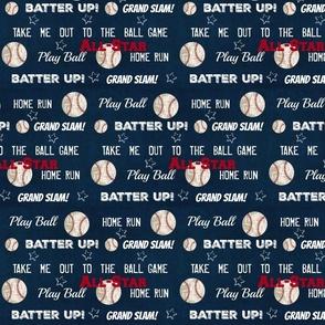AllStar vintage navy  worn baseball stars and text  LARGE986