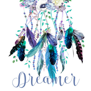 "56""x72"" Dreamer / Teal & Lilac Dream Catcher"