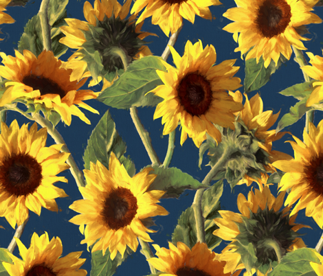 Sunflowers on Dark Blue fabric by micklyn on Spoonflower - custom fabric