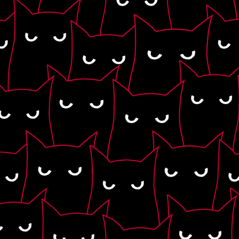 A clowder of cats fabric by strange_phenomena on Spoonflower - custom fabric