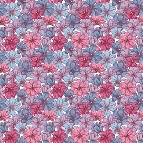 Inky Flowers in 'Rose and Dusty Blue'