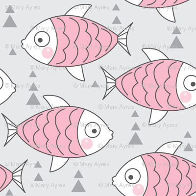 pink fish on grey