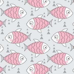 pink fish on grey