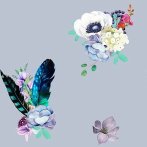 "8"" Teal & Lilac Florals / Dark Lilac Background"