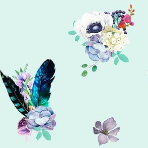 "8"" Teal & Lilac Florals / Soft Teal Background"