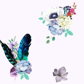 """8"""" Teal & Lilac Florals / Soft Lilac Background"""