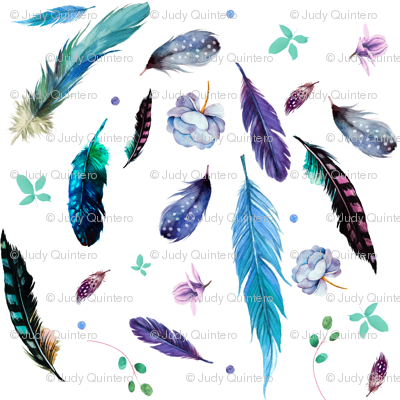 "7"" Teal & Lilac Feathers & Flowers / Mix & Match"