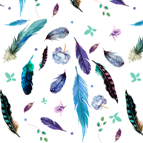 "7"" Teal & Lilac Feathers & Flowers / Mix & Match fabric by shopcabin on Spoonflower - custom fabric"