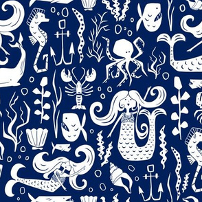Under The Sea - Nautical Mermaid Navy Blue