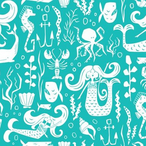 Under The Sea - Nautical Mermaid Aqua Blue