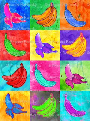 Pop Art Watercolor Bananas