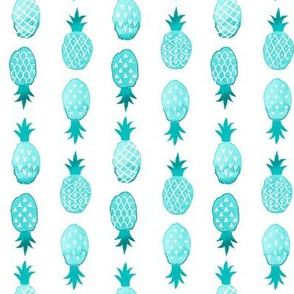 Watercolor Pineapples Turquoise and White