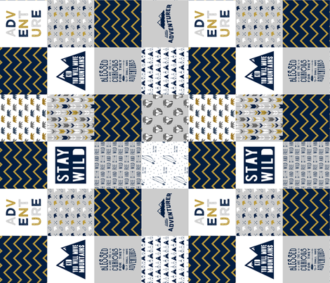 wholecloth adventure (90) - navy and mustard fabric by littlearrowdesign on Spoonflower - custom fabric