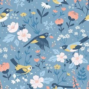 Birds & Blooms Blue