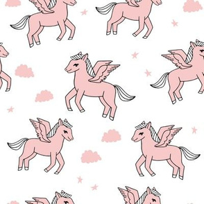 pegasus fabric // cute pegasus whimsical fantasy fabric for girls cute baby nursery design - pink and white