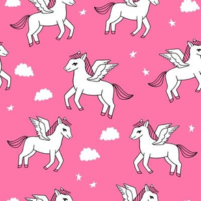 pegasus fabric // cute pegasus whimsical fantasy fabric for girls cute baby nursery design - bright pink