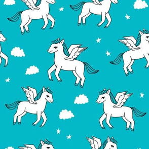 pegasus fabric // cute pegasus whimsical fantasy fabric for girls cute baby nursery design - turquoise