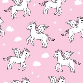 pegasus fabric // cute pegasus whimsical fantasy fabric for girls cute baby nursery design - bubblegum pink