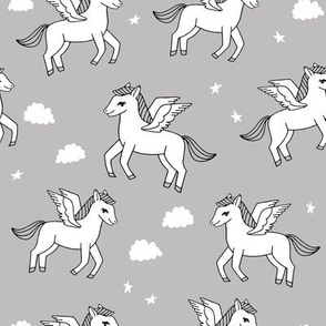 pegasus fabric // cute pegasus whimsical fantasy fabric for girls cute baby nursery design - grey