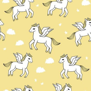 pegasus fabric // cute pegasus whimsical fantasy fabric for girls cute baby nursery design - light yellow