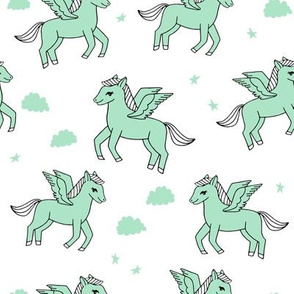 pegasus fabric // cute pegasus whimsical fantasy fabric for girls cute baby nursery design - mint and white