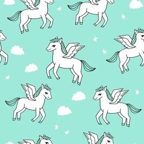 pegasus fabric // cute pegasus whimsical fantasy fabric for girls cute baby nursery design - bright mint