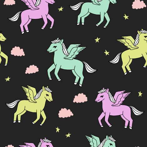 pegasus fabric // cute pegasus whimsical fantasy fabric for girls cute baby nursery design - pastels fabric by andrea_lauren on Spoonflower - custom fabric