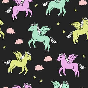 pegasus fabric // cute pegasus whimsical fantasy fabric for girls cute baby nursery design - pastels