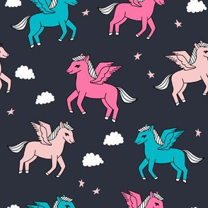 pegasus fabric // cute pegasus whimsical fantasy fabric for girls cute baby nursery design - dark