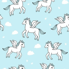 pegasus fabric // cute pegasus whimsical fantasy fabric for girls cute baby nursery design - sky blue