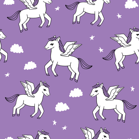 pegasus fabric // cute pegasus whimsical fantasy fabric for girls cute baby nursery design - purple fabric by andrea_lauren on Spoonflower - custom fabric
