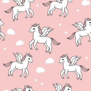 pegasus fabric // cute pegasus whimsical fantasy fabric for girls cute baby nursery design - pink