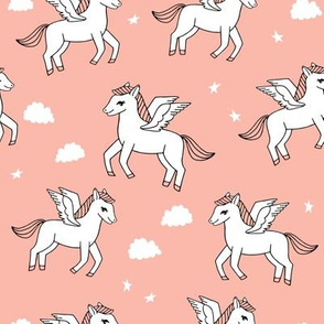 pegasus fabric // cute pegasus whimsical fantasy fabric for girls cute baby nursery design - peach
