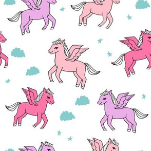 pegasus fabric // cute pegasus whimsical fantasy fabric for girls cute baby nursery design - pink and purple