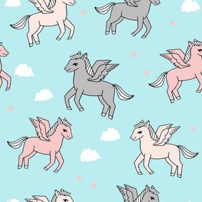 pegasus fabric // cute pegasus whimsical fantasy fabric for girls cute baby nursery design - pastel blue