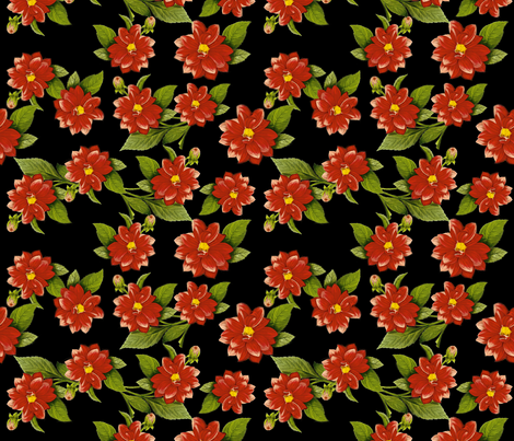 Red Flowers on Black fabric by whimzwhirled on Spoonflower - custom fabric