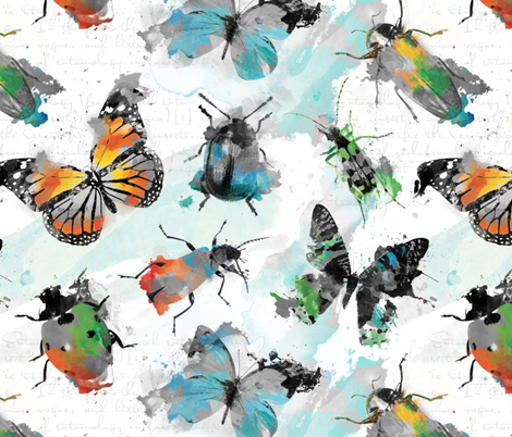 Watercolour grey Insects fabric by lisa_brown on Spoonflower - custom fabric