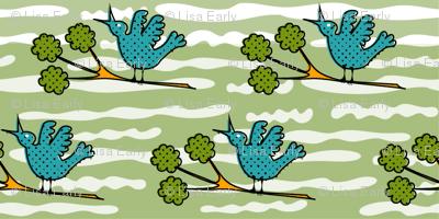 Tiny Birds on Twigs