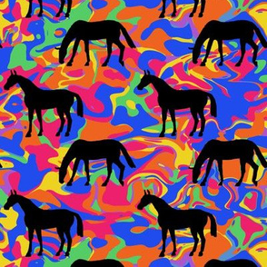 Elegant Black Horses on Rainbow