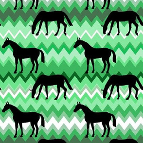 Elegant Black Horse on Zigzag Greens