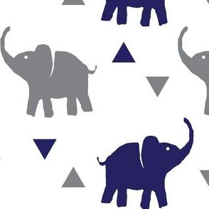 Elephants & Triangles - White Navy Gray