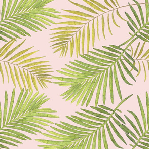 Watercolor Palm Leaves - Blush Pink