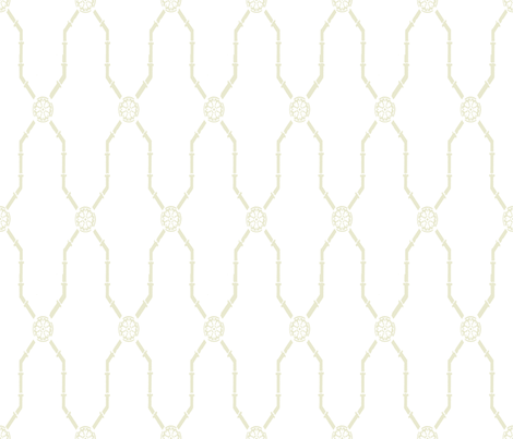 Dynasty Trellis off-basil on white fabric by lilyoake on Spoonflower - custom fabric