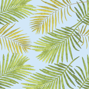 Watercolor Palm Leaves - Light Blue