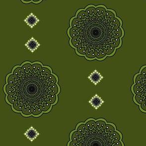 Olive Green Mandala Dots