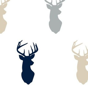 multi buck head // navy, grey,tan